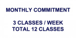 Monthly Commitment: 3Classes/Week